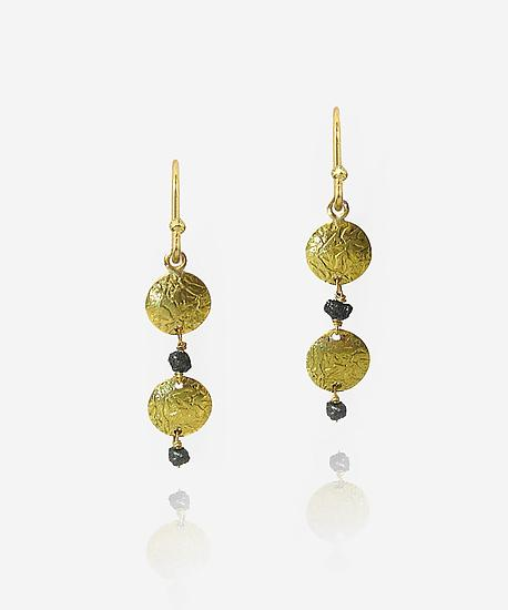 Double Disk Earrings with Rough Black Diamonds