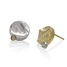 Sand Dune Round Studs Earrings by Keiko Mita (Gold, Silver & Stone Earrings)