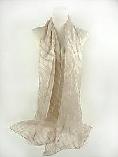 Zebra Scarf in Pearl Beige by Yuh Okano  (Silk Scarf)
