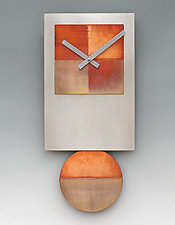 Steel Tie Pendulum Clock with Copper by Leonie  Lacouette (Metal Clock)