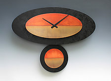 Black & Copper Pendulum Clock by Leonie  Lacouette (Wood & Metal Clock)