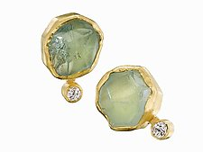 Rough Aquamarine and Diamond Earrings by Petra Class (Gold & Stone Earrings)