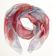 Floral Organza Scarf in Red Sweet Pea by Yuh  Okano (Silk Scarf)