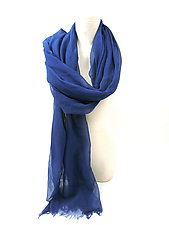 Organic Cotton Light Weight Shawl in Blue by Yuh  Okano (Cotton Scarf)