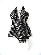 Velvet Accordion Drape Pleats Scarf in Black by Yuh  Okano (Velvet Scarf)