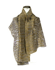 Velvet Accordion Drape Pleats Scarf in Gold & Black by Yuh Okano (Velvet Scarf)
