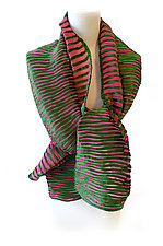 Velvet Accordion Drape Pleats Scarf in Green & Pink by Yuh Okano (Velvet Scarf)