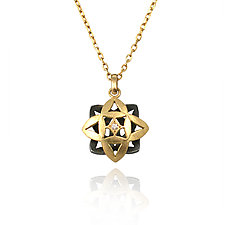 Moiré Mini Flower Necklace by Keiko Mita (Gold & Silver Jewelry)