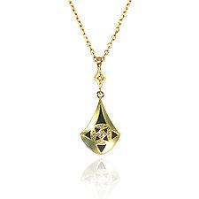 Moiré Teardrop Pendant by Keiko Mita (Gold, Silver & Stone Necklace)