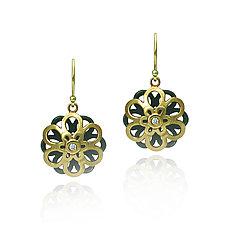 Moiré Kiku Earrings by Keiko Mita (Gold, Silver & Stone Earrings)