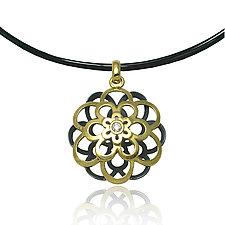 Moiré Kiku Pendant by Keiko Mita (Gold, Silver, & Stone Necklace)
