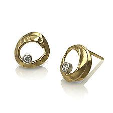 Open Pebble Stud Earrings by Keiko Mita (Gold & Stone Earrings)