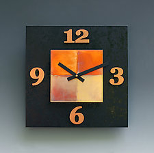 Black & Copper Kitchen Clock by Leonie  Lacouette (Wood & Copper Clock)