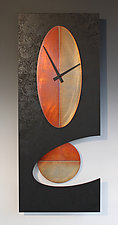 Black Oval Pendulum Clock by Leonie  Lacouette (Metal & Wood Clock)
