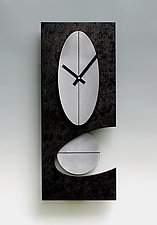 Black and Steel 24 Oval Pendulum Clock by Leonie  Lacouette (Wood & Metal Clock)