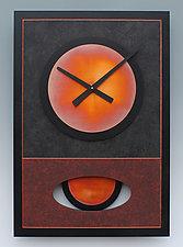 Red Walid Pendulum Clock by Leonie  Lacouette (Wood & Metal Clock)