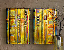 Amber Leaf Panels by Mark Ditzler (Art Glass Wall Art)