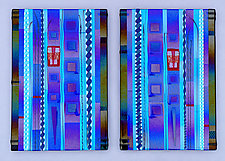 Blue Sky Diptych Panels in Cobalt and Aqua by Mark Ditzler (Art Glass Wall Sculpture)
