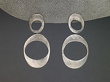 Carved Ovals Earrings by Heather Guidero (Silver Earrings)