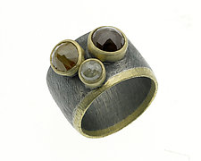 Carved Horizontal Stripe Ring with Rosecut Diamonds by Heather Guidero (Gold, Silver & Stone Ring)