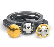 Carved Prong Set Pyrite & Bimetal Rings by Heather Guidero (Gold & Silver Ring)
