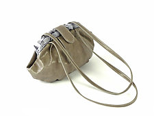 Shibori Dumpling Leather Bag in Gray by Yuh Okano (Silk & Leather Purse)