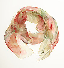 Mini Floral Organza Scarf in Sweet Pea & Cream by Yuh Okano (Silk Scarf)