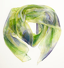 Floral Organza Scarf in Purple & Green by Yuh Okano (Silk Scarf)