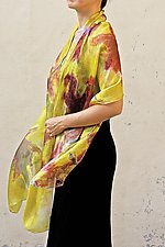 Floral Organza Scarf in Yellow Maple by Yuh Okano (Silk Scarf)