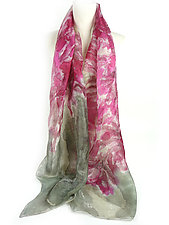 Floral Organza Scarf in Lilac Pink by Yuh Okano (Silk Scarf)