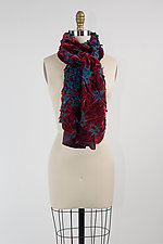Velvet Flower Petal Print & Pleats Scarf in Berry and Blue by Yuh Okano (Velvet Scarf)
