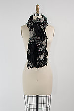Velvet Flower Petal Print & Pleats Scarf in Black II by Yuh Okano (Velvet Scarf)