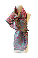 Velvet Accordion Drape Pleats Scarf in Sage & Pink by Yuh  Okano (Velvet Scarf)