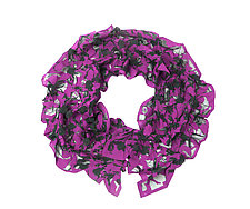 Large Flower Petal Print & Pleats Scarf in Pink & Black by Yuh Okano (Cotton Scarf)