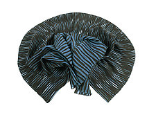 Accordion Drape Pleats Scarf in Blue & Black by Yuh  Okano (Woven Scarf)