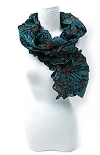 Velvet Flower Petal Print & Pleats Scarf in Zilcon Blue by Yuh Okano (Velvet Scarf)