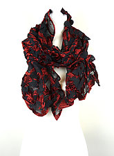 Velvet Large Flower Petal Print & Pleats Scarf in Red & Black by Yuh Okano (Velvet Scarf)