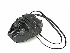 Shibori Dumpling Leather Bag in Black by Yuh  Okano (Polyester & Leather Purse)