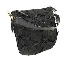 Flat Zipper Bubble Dot Bag in Black by Yuh  Okano (Shibori Purse)