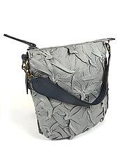 Flat Zipper Bubble Dot Bag in Gray by Yuh  Okano (Shibori Purse)
