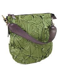 Flat Zipper Bubble Dot Bag in Sage Green by Yuh  Okano (Shibori Purse)