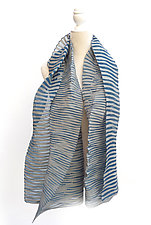 Accordion Drape Pleats Scarf in Blue & Asphalt by Yuh Okano (Woven scarf)