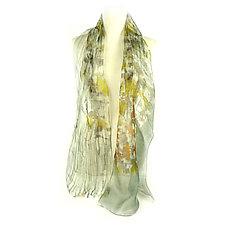 Mini Floral Organza Scarf in Wisteria Yellow by Yuh Okano (Silk Scarf)