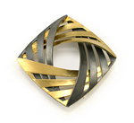 Moiré Interlock Square Brooch by Keiko Mita (Gold & Silver Brooch)