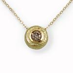 Round Pendant with Brown Diamond by Keiko Mita (Gold & Stone Pendant)