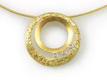 Double Circle Pendant by Keiko Mita (Gold & Stone Pendant)