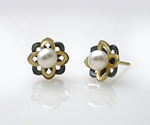 Moiré Flower Pearl Studs by Keiko Mita (Gold, Silver & Stone Earrings)