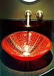 Red Venetian Vessel Sink by Mark Ditzler (Art Glass Sink)