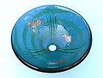 Goldfish Vessel Sink on Steel Blue Glass by Mark Ditzler (Art Glass Sink)