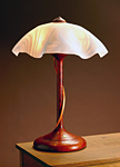 Tendril Table Lamp with White Swirly Shade by Clark Renfort (Wood Table Lamp)